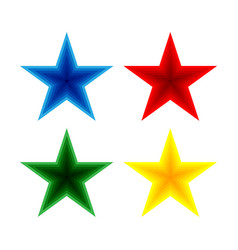 set blue red green and yellow stars vector image