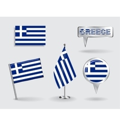 Set of Greek pin icon and map pointer flags vector