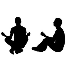 silhouettes of people in yoga position vector image
