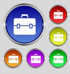 suitcase icon sign Round symbol on bright vector image