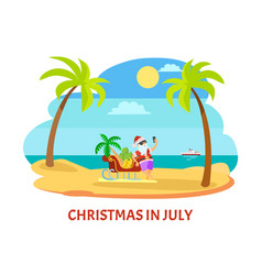 summer christmas in july shooting on beach vector image