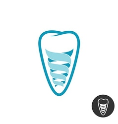 Tooth implant logo Teeth outline symbol with vector