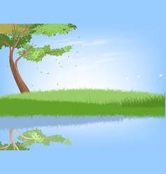 Tree and lake vector