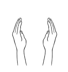 two hands supporting concept giving hand sign vector image