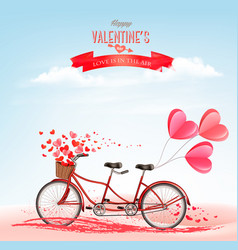 valentines day background with tandem bicycle vector image