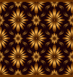 vintage geometric flowers seamless pattern golden vector image