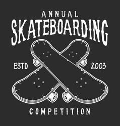 Vintage skateboarding logo vector