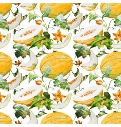 Watercolor watermelon melon pattern vector image