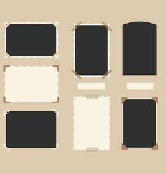 white and black blank retro photos set vector image