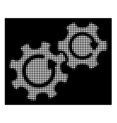 White halftone gears rotation icon vector