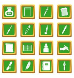 Writing icons set green vector