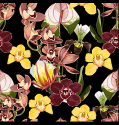 yellow brown bordo orchid flowers pattern vector image