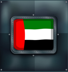arab emirates flag on metalic wall vector image vector image