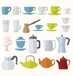 flat style dinnerware cups mugs and pots set vector image vector image