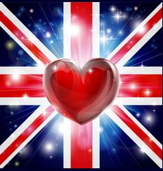 love uk flag heart background vector image vector image