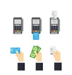 pos terminal and credit card processing - vector image