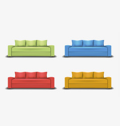 set of colorful sofas object realistic design vector image