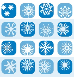 color snowflake icon set vector image vector image
