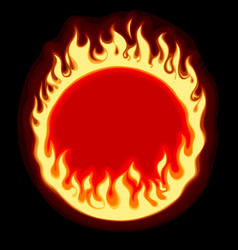 fiery ring banner and frame on black background vector image