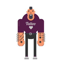 Informal man with tattoes on hands and reckless vector