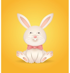 Sitting rabbit with a red bow vector image vector image