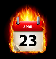 twenty-third april in calendar burning icon on vector image