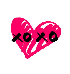 xoxo hand drawn sign with pink heart isolated on w vector image vector image