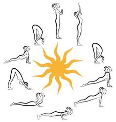 yoga sun salutation vector image vector image
