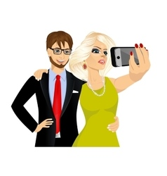 happy couple taking a selfie using her smartphone vector image vector image
