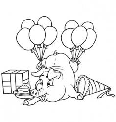 Piglet and celebration vector