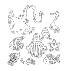 Set of cute doodle sea creatures vector image