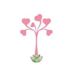 Tree shape heart leaves romantic vector