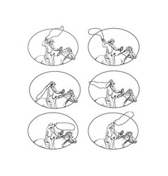 cowboy lasso riding horse drawing collection set vector image vector image