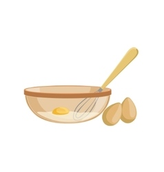 Eggs And Bowl Baking Process Kitchen Equipment vector image vector image