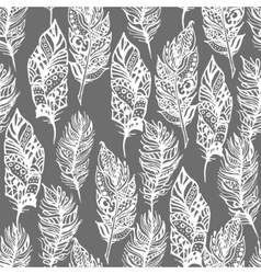 Hand drawn zentangle doodle white feathers vector image