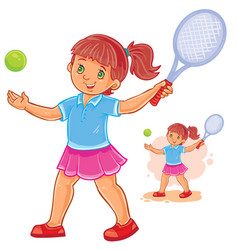 little girl playing tennis vector image vector image