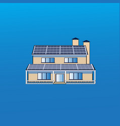 modern house building icon with solar battery vector image