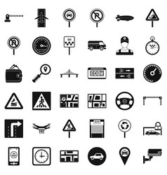 traffic in city icons set simple style vector image vector image