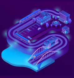 3d isometric railway station roads vector image