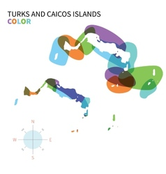Abstract color map of Turks and Caicos vector