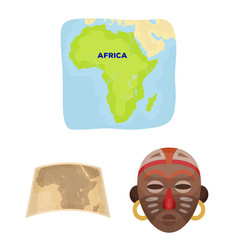 African safari cartoon icons in set collection vector