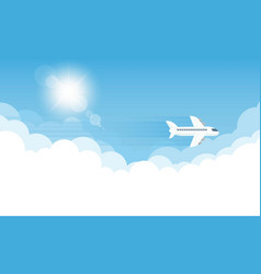 Aircraft in the sky and sun vector