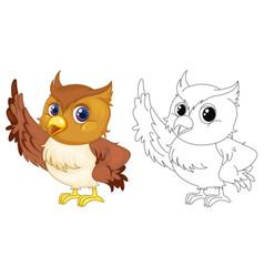 Animal outline for cute owl vector