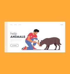 animal volunteering landing page template vector image