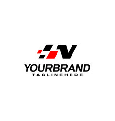 Auto speed letter n with race element logo vector