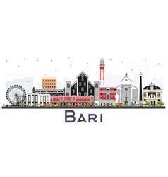 Bari italy city skyline with gray buildings vector
