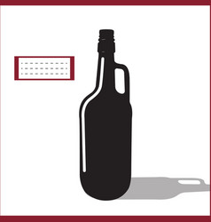 beer or wine black silhouette isolated vector image