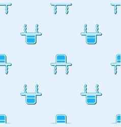 Blue line orthodox jewish hat with sidelocks icon vector