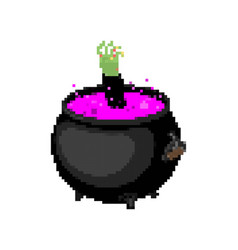 Boiler witch pixel art pot potion 8 bit halloween vector