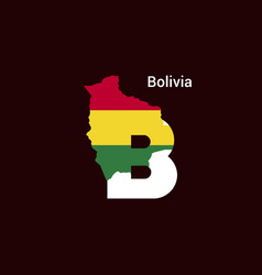 Bolivia initial letter country with map and flag vector